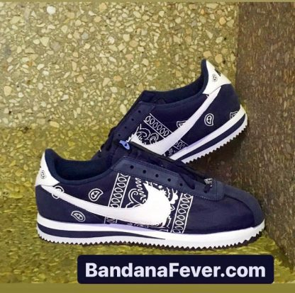 Navy Bandana Teardrops Custom Nike Cortez Shoes NNW Sides Stacked at BandanaFever.com