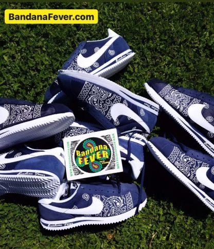 Navy Blue Bandana Teardrops Custom Nike Cortez Shoes at BandanaFever.com