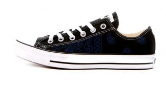 Navy Blue Bandana Teardrops Custom Converse Shoes Black Low by BandanaFever.com