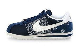 Navy Blue Bandana Teardrops Custom Nike Cortez Shoes NNW Sides by BandanaFever.com