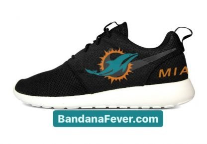 Bandana Fever Miami Dolphins Custom Nike Roshe Shoes Black Heels at BandanaFever.com