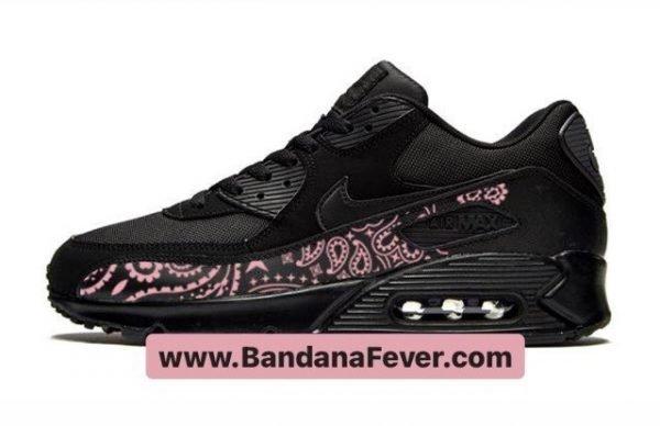 Bandana Fever Pink Bandana Custom Nike Air Max Shoes Black at BandanaFever.com