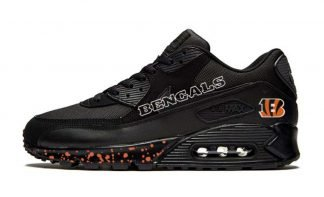 Cincinnati Bengals Orange Splat Custom Nike Air Max Shoes Black by BandanaFever.com