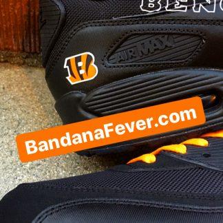 Cincinnati Bengals Orange Splat Custom Nike Air Max Shoes Black Close at BandanaFever.com