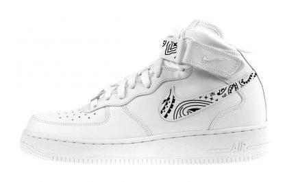 Black Bandana Custom Nike Air Force 1 Shoes White Mid Swoosh Strap by BandanaFever.com