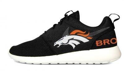 Denver Broncos Custom Nike Roshe Shoes Black Heels by BandanaFever.com
