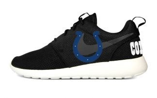 Indianapolis Colts Custom Nike Roshe Shoes Black Heels by BandanaFever.com