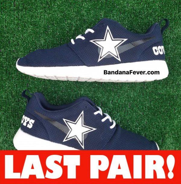 Dallas Cowboys Custom Nike Roshe Shoes Blue Heels On Sale at BandanaFever.com
