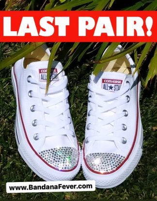 Crystal Bling Custom Converse Shoes White Low Toes On Sale at BandanaFever.com