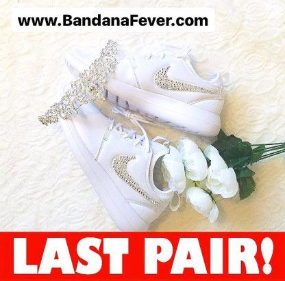 Crystal Bling Custom Nike Roshe Two Shoes White Swoosh On Saleat BandanaFever.com