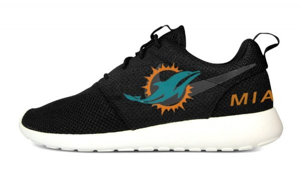 Miami Dolphins Custom Nike Roshe Shoes Black Heels by BandanaFever.com