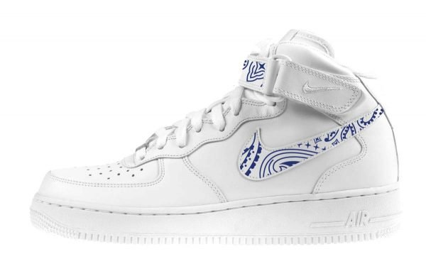 Navy Blue Bandana Custom Nike Air Force 1 Shoes White Mid Swoosh Strap by BandanaFever.com