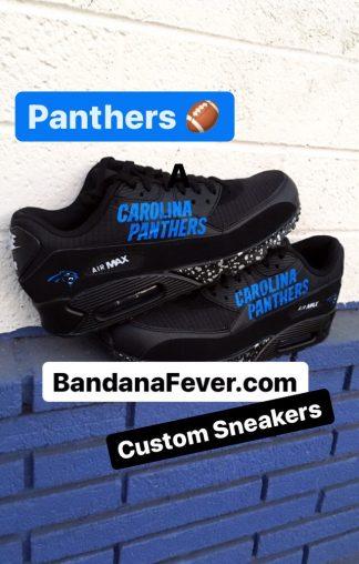 Carolina Panthers Silver Splat Custom Nike Air Max Shoes Black Stacked at BandanaFever.com