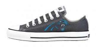 Carolina Panthers Custom Converse Shoes Charcoal Low by BandanaFever.com