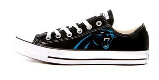 Carolina Panthers Custom Converse Shoes Black Low by BandanaFever.com