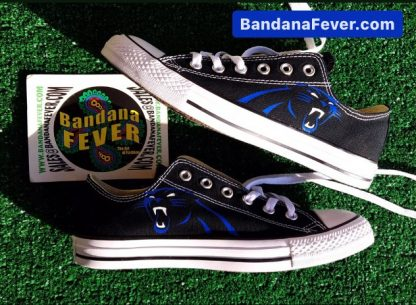 Carolina Panthers Custom Converse Shoes Black Low Stagger by BandanaFever.com