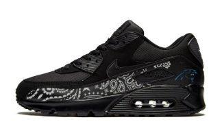 Carolina Panthers Silver Bandana Custom Nike Air Max Shoes Black by BandanaFever.com