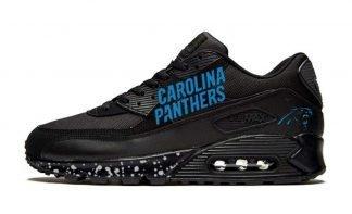 Carolina Panthers Silver Splat Custom Nike Air Max Shoes Black by BandanaFever.com