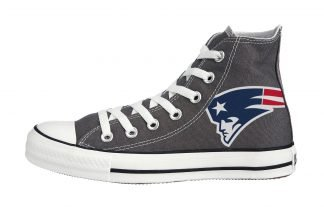 New England Patriots Custom Converse Shoes Charcoal High by BandanaFever.com