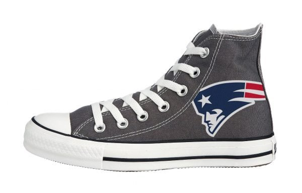 New England Patriots Custom Converse Shoes Charcoal High by BandanaFever.com