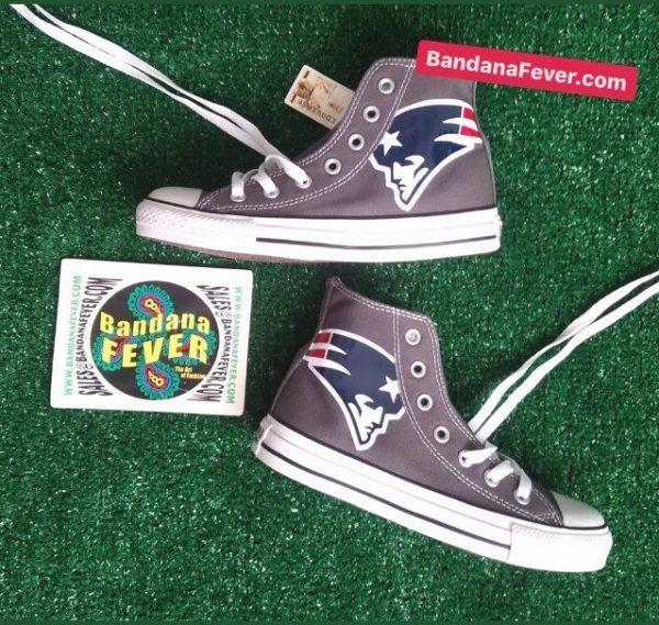 New England Patriots Custom Converse Shoes Charcoal High Stagger at BandanaFever.com