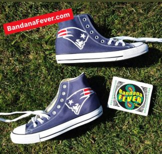 New England Patriots Custom Converse Shoes Navy High Stagger at BandanaFever.com