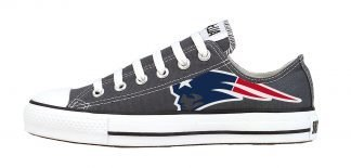 New England Patriots Custom Converse Shoes Charcoal Low by BandanaFever.com