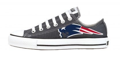 New England Patriots Custom Converse Shoes Charcoal Low by BandanaFever.com