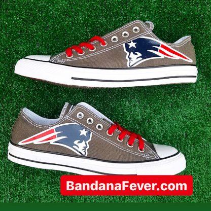 New England Patriots Custom Converse Shoes Charcoal Low Pair at BandanaFever.com