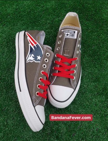 New England Patriots Custom Converse Shoes Charcoal Low Top at BandanaFever.com