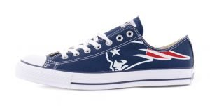 New England Patriots Custom Converse Shoes Navy Low by BandanaFever.com
