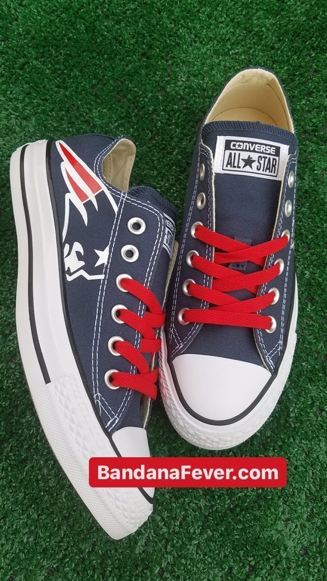New England Patriots Custom Converse Shoes Navy Low Top at BandanaFever.com