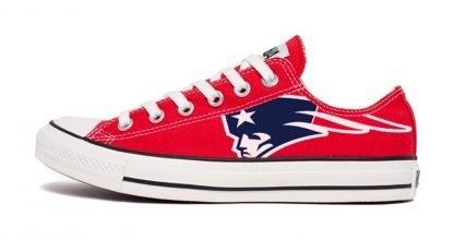 New England Patriots Custom Converse Shoes Red Low by BandanaFever,com