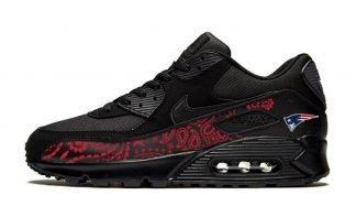 New England Patriots Red Bandana Custom Nike Air Max Shoes Black by BandanaFever.com