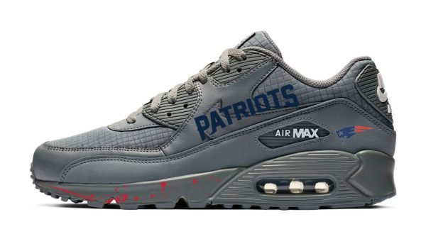 New England Patriots Word Red Splat Custom Nike Air Max Shoes Grey by BandanaFever.com