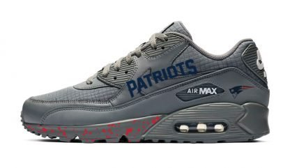 New England Patriots Word Red Splat Custom Nike Air Max Shoes Grey by BandanaFever.com
