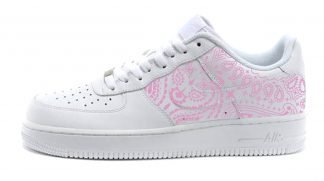 Pink Bandana Custom Nike Air Force 1 Shoes White Low Half by BandanaFever.com