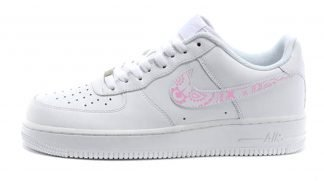 Pink Bandana Custom Nike Air Force 1 Swoosh Low White Shoes by BandanaFever.com