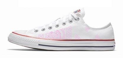 Pink Bandana Teardrops Custom Converse Shoes White Low by BandanaFever.com