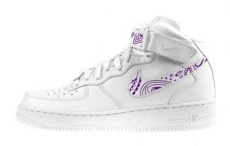 Purple Bandana Custom Nike Air Force 1 Shoes White Mid Swoosh Strap by BandanaFever.com