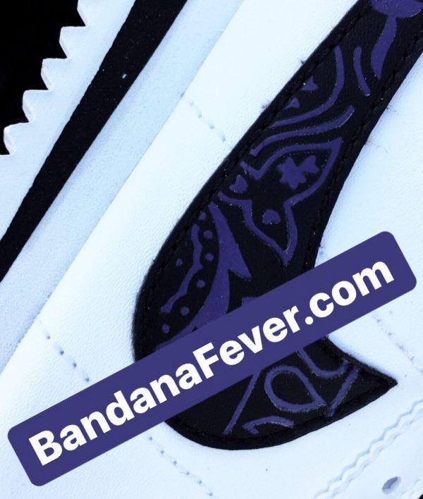 Purple Bandana Custom Nike Cortez Shoes Swoosh LWB Close at BandanaFever.com