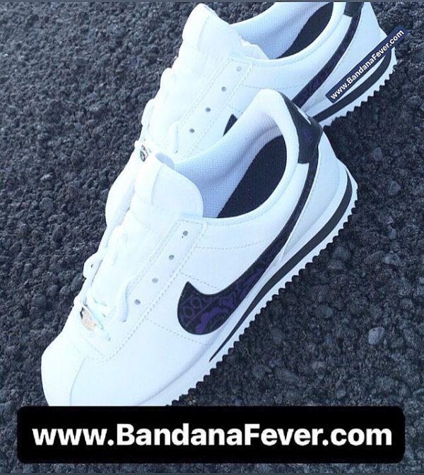Purple Bandana Custom Nike Cortez Shoes LWB Swoosh Pair at BandanaFever.com