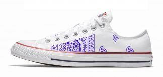 Purple Bandana Teardrops Custom Converse Shoes White Low by BandanaFever,com