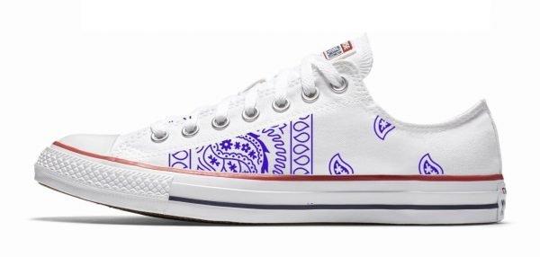 Purple Bandana Teardrops Custom Converse Shoes White Low by BandanaFever,com
