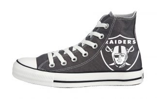 Las Vegas Raiders Custom Converse Shoes Charcoal High by BandanaFever.com