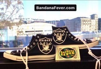 Las Vegas Raiders Custom Converse Shoes Black High Pair at BandanaFever.com