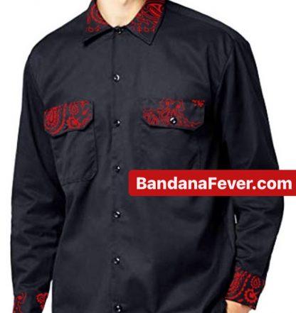 Bandana Fever Red Bandana Custom Dickies Shirt LS Black at BandanaFever.com