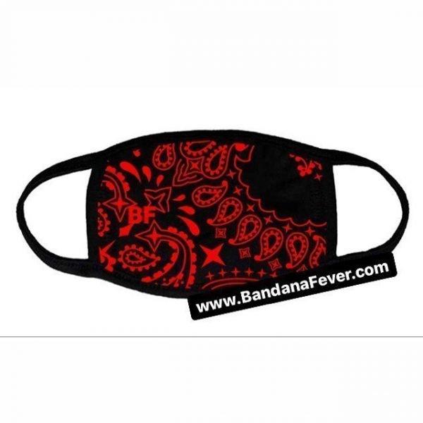 Bandana Fever Red Bandana Custom Face Mask Black at BandanaFever.com
