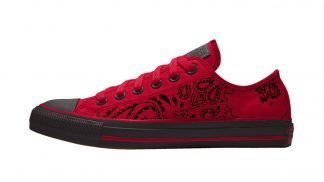 Black Bandana Custom Converse Shoes Red/Black Low by BandanaFever.com