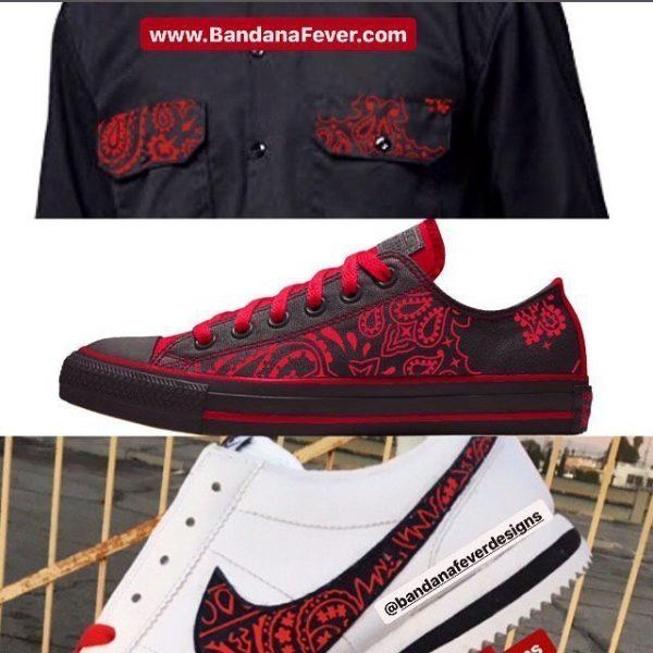 Custom Red Bandana Dickies Shirt Converse Nike Cortez at BandanaFever.com